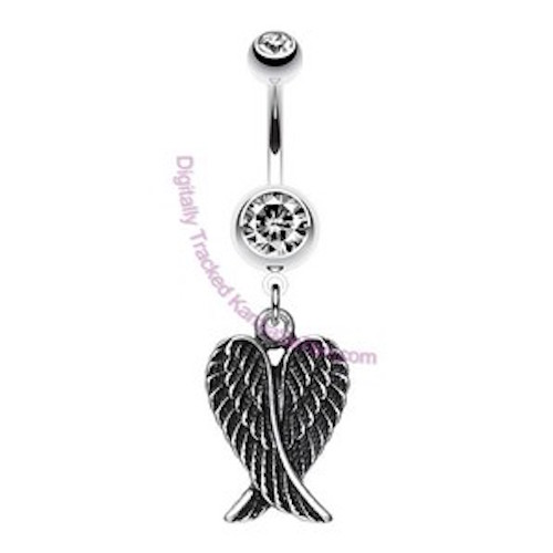 angel wing dangly belly bar