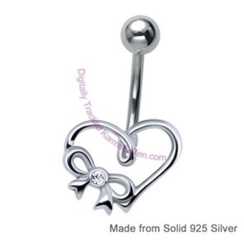 Silver Love Heart Belly Bar
